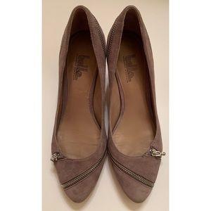 Belle Sigerson Morrison Taupe Suede Zipper Heels